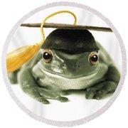 Frog Graduate Round Beach Towel