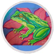 Frog On Flower Round Beach Towel