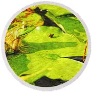 Frog On Lily Pad Round Beach Towel