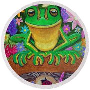 Frog On Mushroom Round Beach Towel