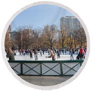 Frog Pond Skating Rink Boston Common Round Beach Towel