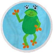 Froggie Round Beach Towel by Deborah Boyd