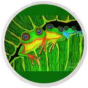 Froggie Trio Round Beach Towel