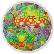 Frogs And Mushrooms Round Beach Towel