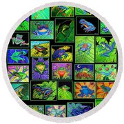 Frogs Poster Round Beach Towel