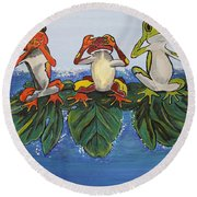 Frogs Without Sense Round Beach Towel
