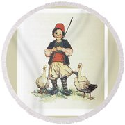 Frolic For Fun Boy And Geese Round Beach Towel