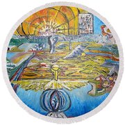 From Ground To Sky Round Beach Towel