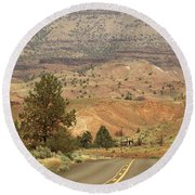From Mitchell To Smith Rock  Round Beach Towel