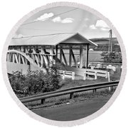 From Old To New In Bedford County Black And White Round Beach Towel