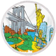 From Old To New York Round Beach Towel