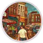 From Schwartz's To Warshaws To The  Main Steakhouse Montreal's Famous Landmarks By Carole Spandau  Round Beach Towel