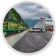 From Ship To Train Round Beach Towel