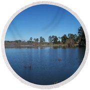 From The Bank Of The Lake In Eunice, Louisiana Round Beach Towel