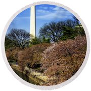 From The Basin To The Monument Round Beach Towel