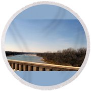 From The Bridge The Red River Round Beach Towel