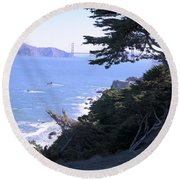 From The Cliff Of Lands' End 04 Round Beach Towel