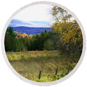 From The Field To The Mountains Round Beach Towel