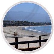From The Santa Barbara Pier Round Beach Towel