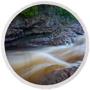 From The Top Of Temperence River Gorge Round Beach Towel