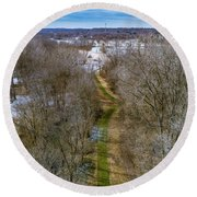 From Woods To Snow Round Beach Towel