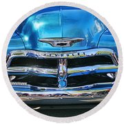 Front End Blue And Chrome Chevy Pick Up Round Beach Towel
