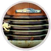Front End Grille Of 1953 Chevrolet Advantage Design Truck With Dog Skeleton Round Beach Towel