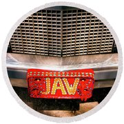 Front Of The Car - Grill And Plate Round Beach Towel
