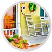 Front Porch 2 Round Beach Towel