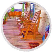 Front Porch On An Old Country House  1 Round Beach Towel