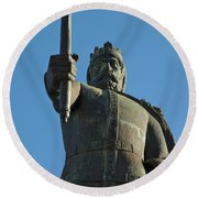 Front View Of King Afonso The Third Statue. Portugal Round Beach Towel