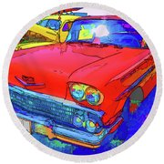 Front View Of Red Retro Car  Round Beach Towel