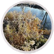 Frost Along Nippersink Creek In Glacial Park At Sunrise Round Beach Towel