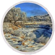 Frost Along The Creek Round Beach Towel