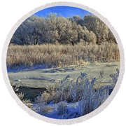 Frost Along The Creek - Panorama Round Beach Towel