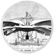 Frost Flying Machine, 1891 Round Beach Towel