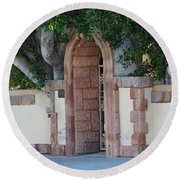 Frosted Almond Garden Wall With Red Brick Entrance Round Beach Towel