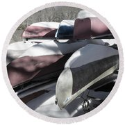 Frosted Canoes Round Beach Towel