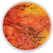 Frosted Fire I Round Beach Towel