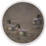 Frosted Geese Round Beach Towel