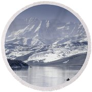 Frosted Mountains Round Beach Towel