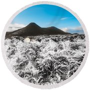 Frosted Over Hinterland Round Beach Towel