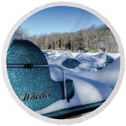 Frosted Paddleboats Round Beach Towel