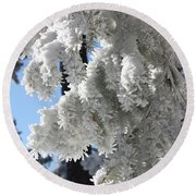 Frosted Pine Needles Round Beach Towel