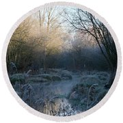 Frosted Riverbank Round Beach Towel