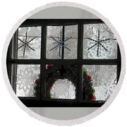 Frosted Windowpanes Round Beach Towel