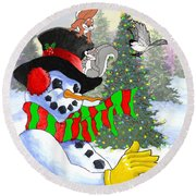 Frosty And Friends Round Beach Towel