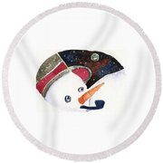 Frosty And The Moon Round Beach Towel by Mindy Newman
