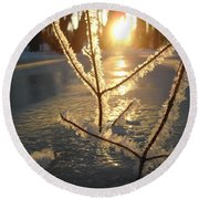 Frosty Branches At Sunrise Round Beach Towel