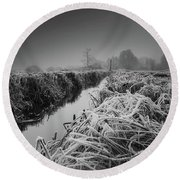 Frosty Field Round Beach Towel